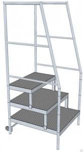 Площадка-лестница мобильная с перилами и двумя колесными опорами